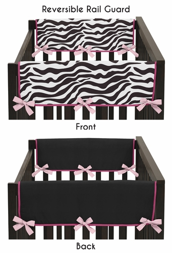 Funky Zebra Baby Crib Side Rail Guard Covers by Sweet Jojo Designs - Set of 2 - Click to enlarge