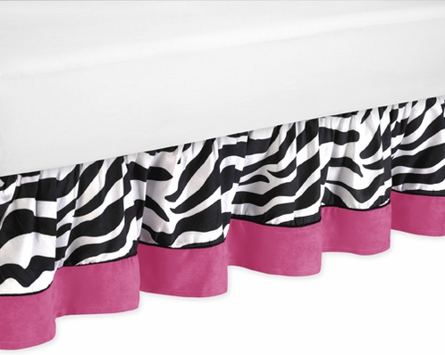 Funky Zebra Bed Skirt for Toddler Bedding Sets by Sweet Jojo Designs - Click to enlarge