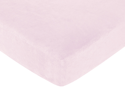 Funky Zebra Fitted Crib Sheet for Baby and Toddler Bedding Sets by Sweet Jojo Designs - Solid Pink Microsuede - Click to enlarge