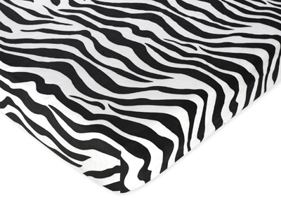 Funky Zebra Fitted Crib Sheet for Baby and Toddler Bedding Sets by Sweet Jojo Designs - Zebra Print Microsuede - Click to enlarge