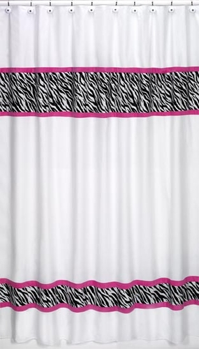 Funky Zebra Kids Bathroom Fabric Bath Shower Curtain Click To Enlarge