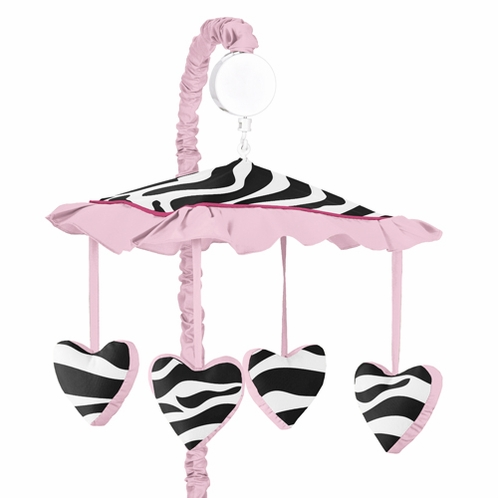 Funky Zebra Musical Baby Girls Crib Mobile by Sweet Jojo Designs - Click to enlarge