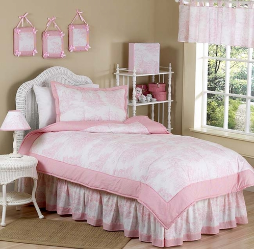 Pink French Toile Children's Bedding - 4 pc Twin Set - Click to enlarge