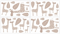 Giraffe Baby and Kids Wall Decal Stickers by Sweet Jojo Designs - Set of 4 Sheets