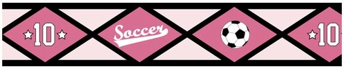 Girls Soccer Kids and Teens Wall Paper Border by Sweet Jojo Designs - Click to enlarge