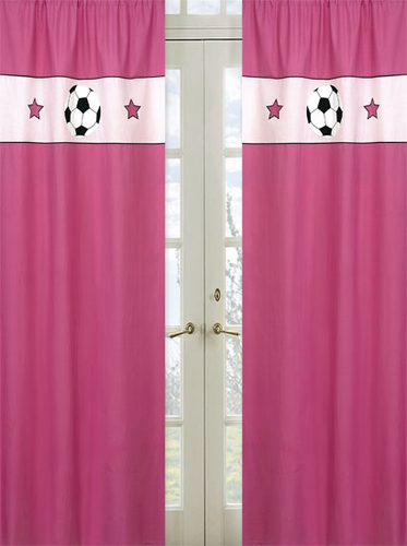 Girls Soccer Window Treatment Panels - Set of 2 - Click to enlarge