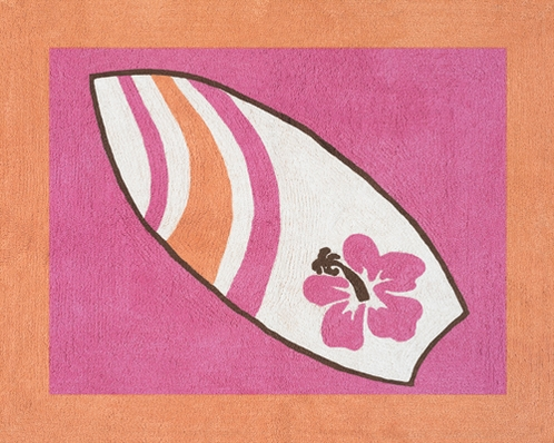 Girls Tropical Hawaiian Accent Floor Rug for Sweet Jojo Designs Surf Bedding - Click to enlarge