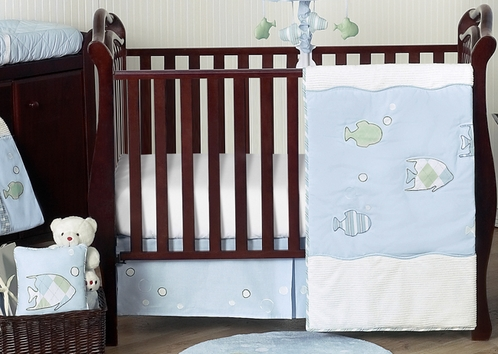 Go fish ocean baby bedding 11pc crib set only for Fishing baby bedding