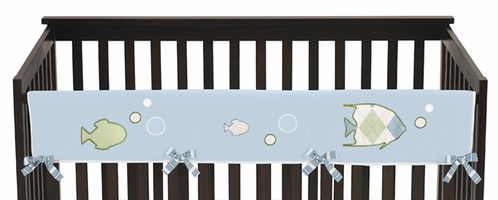 Go Fish Ocean Fishing Baby Crib Long Rail Guard Cover by Sweet Jojo Designs - Click to enlarge