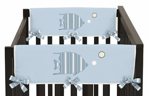 Go Fish Ocean Fishing Baby Crib Side Rail Guard Covers by Sweet Jojo Designs - Set of 2 - Click to enlarge