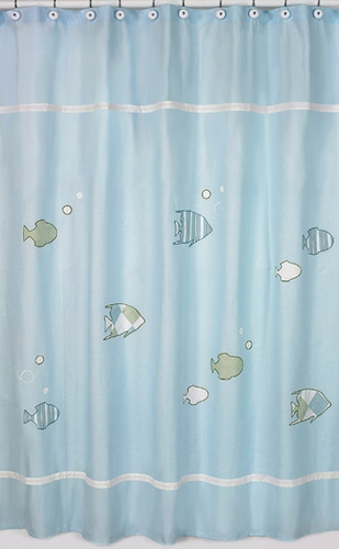 Go Fish Ocean Fishing Kids Bathroom Fabric Bath Shower Curtain - Click to enlarge