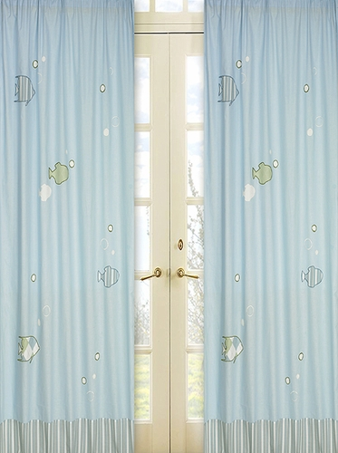 Go Fish Window Treatment Panels - Set of 2 - Click to enlarge