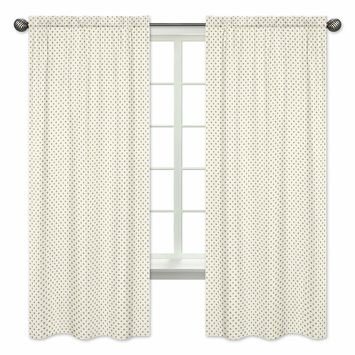 Gold and White Polka Dot Window Treatment Panels for Amelia Collection - Set of 2 - Click to enlarge