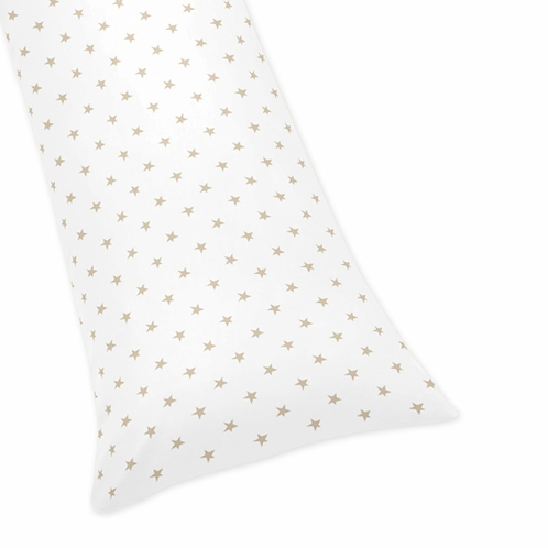 Gold and White Star Body Pillow Case Cover for Celestial Collection by Sweet Jojo Designs (Pillow Not Included) - Click to enlarge