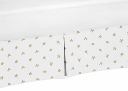 Gold and White Star Pleated Toddler Bed Skirt Dust Ruffle for Celestial Collection by Sweet Jojo Designs - Click to enlarge