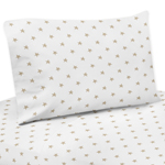 Gold and White Star Queen Sheet Set for Celestial Collection by Sweet Jojo Designs - 4 piece set