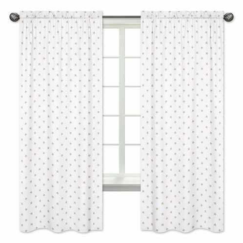 Gold and White Star Window Treatment Panels Curtains for Celestial Collection by Sweet Jojo Designs - Set of 2 - Click to enlarge