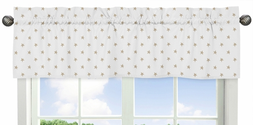 Gold and White Star Window Treatment Valance for Celestial Collection by Sweet Jojo Designs - Click to enlarge