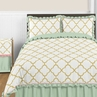 Gold, Mint, Coral and White Ava 3pc Full / Queen Girl Teen Bedding Set