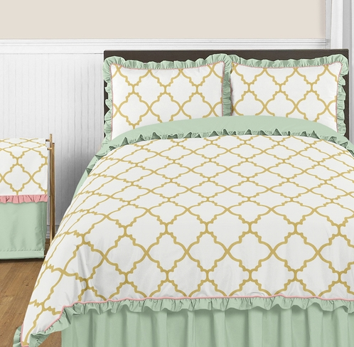 Exceptional Gold, Mint, Coral And White Ava 3pc Full / Queen Girl Teen Bedding Set