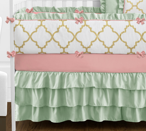 gold mint coral and white ava baby bedding 9pc girls crib set only