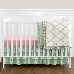 Gold, Mint, Coral and White Ava Baby Girl Bedding - 11pc Crib Set