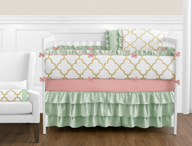 Gold Mint Coral And White Ava Baby Bedding 9pc Girls Crib Set: Deer Crib Sheet Coral Gold At Alzheimers-prions.com