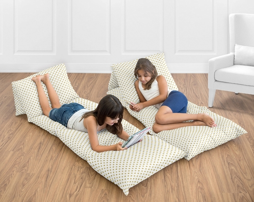 Gold Polka Dot Kids Teen Floor Pillow Case Lounger Cushion Cover for Amelia Collection - Click to enlarge