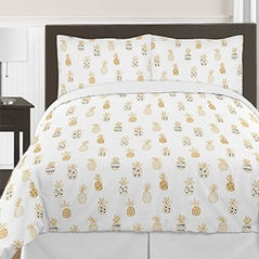 Gold, Yellow, Black and White Tropical Pineapple Girls Teens Queen / Full Bedding Comforter Set by Sweet Jojo Designs 3 pieces
