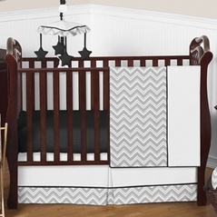 Gray and Black Chevron Zig Zag Baby Bedding - 4pc Crib Set by Sweet Jojo Designs