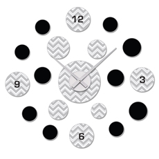 Gray and Black Chevron Zig Zag DIY Clock and Decal Set