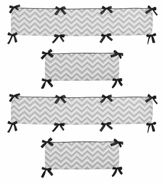 Gray and Black Zig Zag Collection Crib Bumper by Sweet Jojo Designs