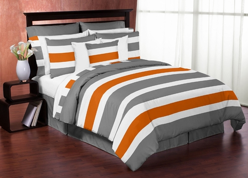 Gray and Orange Stripe 3pc Teen Full / Queen Bedding Set - Click to enlarge