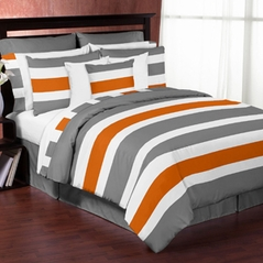 Gray and Orange Stripe 3pc Teen Full / Queen Bedding Set