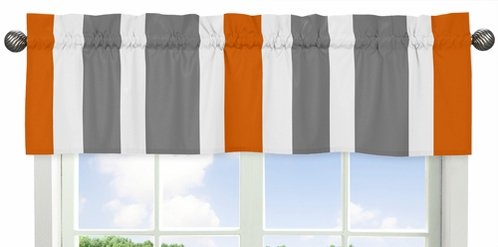 Gray and Orange Stripe Collection Window Valance by Sweet Jojo Designs - Click to enlarge
