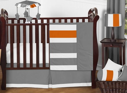 Gray and Orange Stripe Baby Bedding - 11pc Crib Set by Sweet Jojo Designs - Click to enlarge