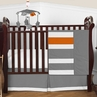 Gray and Orange Stripe Baby Bedding - 4pc Crib Set by Sweet Jojo Designs