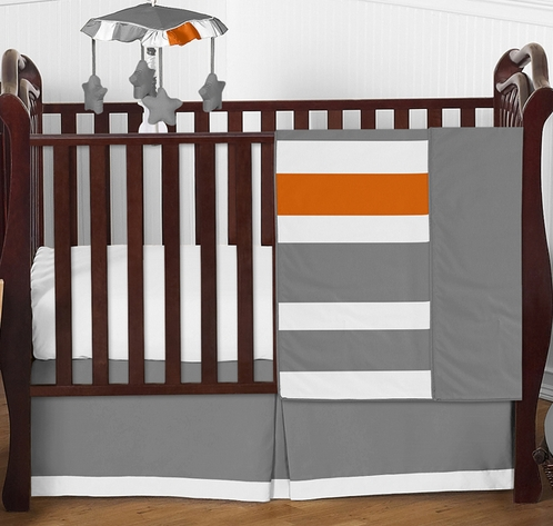 Gray and Orange Stripe Baby Bedding - 4pc Crib Set by Sweet Jojo Designs - Click to enlarge