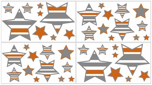 Gray and Orange Stripe, Childrens and Teens Wall Decal Stickers - Set of 4 Sheets - Click to enlarge