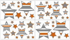 Gray and Orange Stripe Peel and Stick Wall Decal Stickers Art Nursery Decor by Sweet Jojo Designs - Set of 4 Sheets