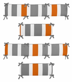 Gray and Orange Stripe Collection Crib Bumper by Sweet Jojo Designs