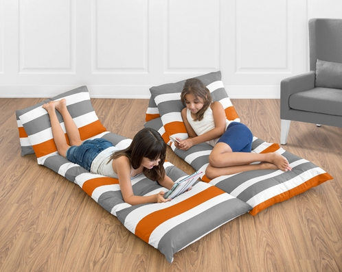 Gray and Orange Stripe Collection Kids Teen Floor Pillow Case Lounger Cushion Cover by Sweet Jojo Designs - Click to enlarge