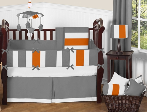 Gray and Orange Stripe Baby Bedding - 9pc Crib Set by Sweet Jojo Designs - Click to enlarge