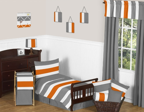 Gray and Orange Stripe Toddler Bedding - 5pc Set by Sweet Jojo Designs - Click to enlarge