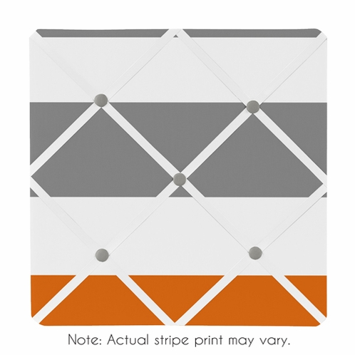 Gray and Orange Stripe Fabric Memory/Memo Photo Bulletin Board - Click to enlarge