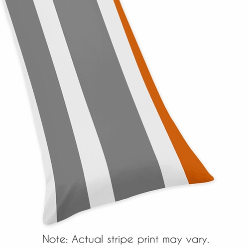 Gray and Orange Stripe Full Length Double Zippered Body Pillow Case Cover - Click to enlarge