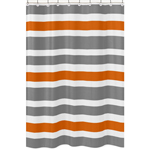 Gray and Orange Stripe Kids Bathroom Fabric Bath Shower Curtain