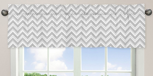Window Valance for Turquoise and Gray Chevron Zig Zag�Bedding Collection by Sweet Jojo Designs - Click to enlarge