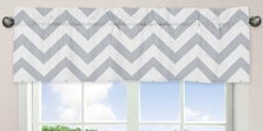 Gray and White Chevron Collection Zig Zag Window Valance