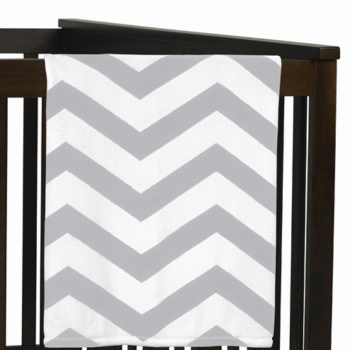 Gray and White Chevron Plush Fleece Unisex Baby Crib Blanket by Sweet Jojo Designs - Click to enlarge